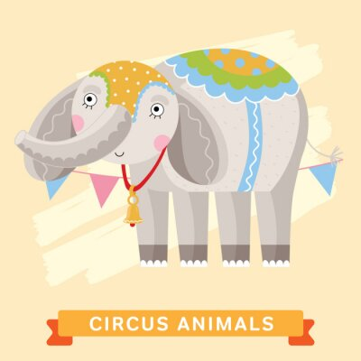 Naklejka Elephant Circus, wektor zwierzę serii.
