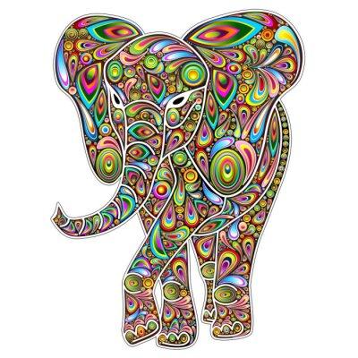 Naklejka Elephant Psychedelic Pop Art Design on White