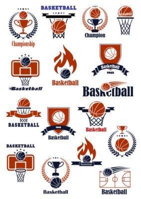 Naklejka Emblematy koszykówkę z elementów heraldycznych sportowych