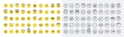 Naklejka Emoji smiles emoticons set isolated. Yellow faces with different funny emotions. Simple doodle design icons. Chat elements. UI, UX for mobile app, social media or web. Flat style vector illustration.