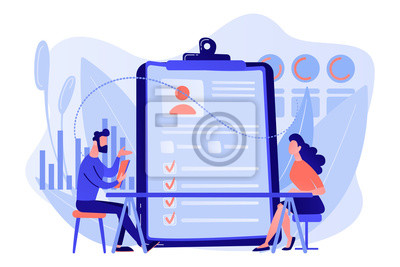 Naklejka Employer meeting job applicant at pre-employment assessment. Employee evaluation, assessment form and report, performance review concept. Living coral blue vector isolated illustration