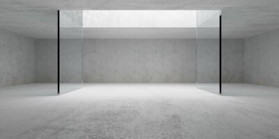 Naklejka Empty modern abstract concrete room with open ceiling light and glass wall frame, product presentation template background