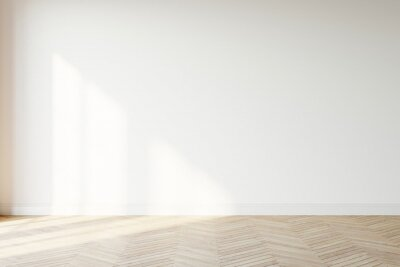 Naklejka Empty wall mockup. Empty room with a white wall and wood floor. 3D illustration.