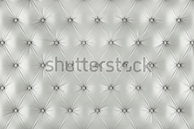 Naklejka English ivory genuine leather upholstery, chesterfield style background. 3D rendering
