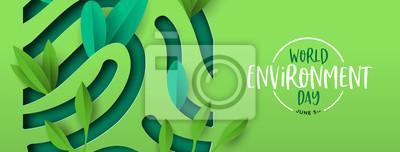 Naklejka Environment Day banner of green cutout fingerprint