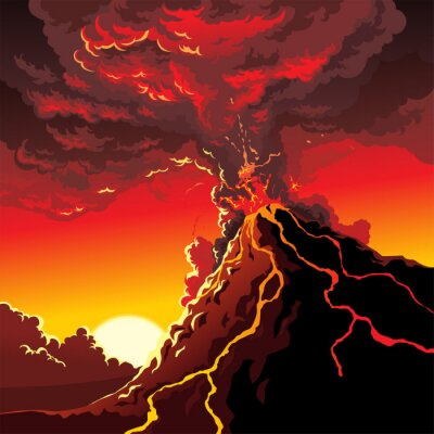 Naklejka Erupcja wulkanu