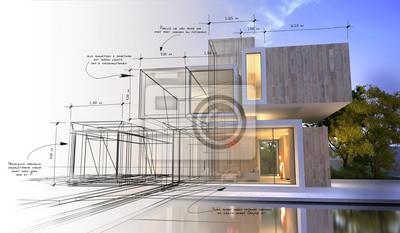 Naklejka Etapy projektowania luksusowej willi