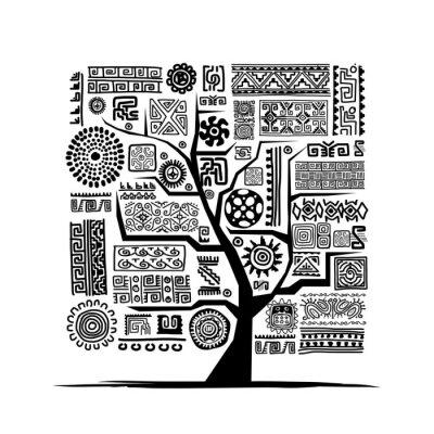 Naklejka Etniczne ozdoby ręcznie z drzewa dla projektu