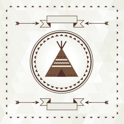 Naklejka Etniczne tła z wigwam w Navajo projektu.