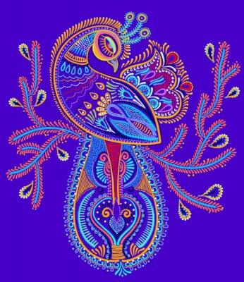 Naklejka etnicznej sztuki ludowej paw ptak z projektu kwitnienia oddziału,