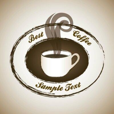 Naklejka etykieta parującej kawy
