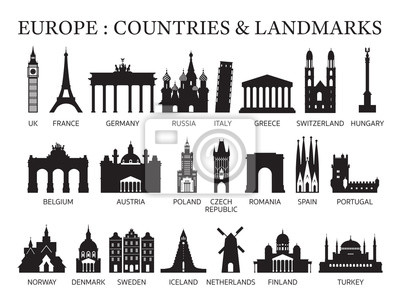 Naklejka Europe Countries Landmarks Silhouette