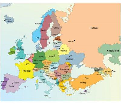 Naklejka Europejska mapa.