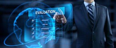 Naklejka Evaluation Assessment Customer service feedback. Businessman pressing button on screen.