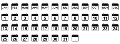 Naklejka Every day and month of a year calendar icons. Set of black calendar icons. Vector illustration.