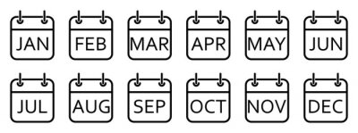 Naklejka Every month of a year calendar icons. Set of black calendar icons. Vector illustration.