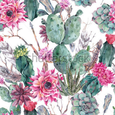 Naklejka Exotic natural vintage watercolor seamless pattern in boho style. Cactus, succulent, flowers, twigs, feathers and  arrows. Botanical isolated nature cactus Illustration on white