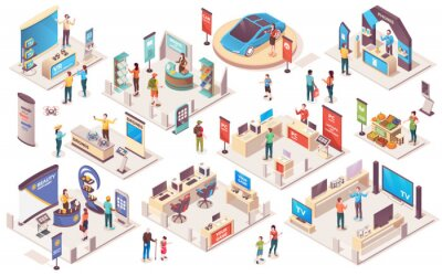 Naklejka Expo center and trade show exhibition product display stands, vector isometric icons. Promo trade exposition demo stands and showcase booth racks or information desks, visitors and consultants people