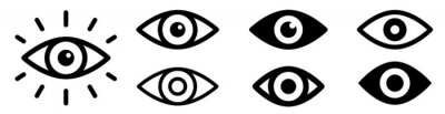 Naklejka Eye icon set. Eyesight symbol. Retina scan eye icons. Simple eyes collection. Eye silhouette - stock vector.