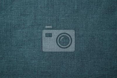Naklejka Fabric closeup. Dark green linen texture