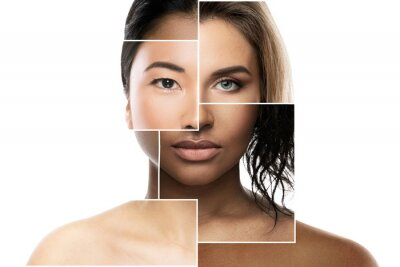 Naklejka Face parts of different ethnicity women