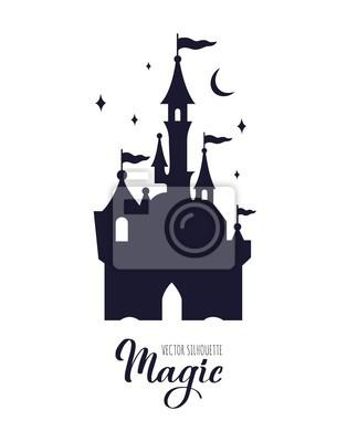 Naklejka Fairy tale medieval Castle silhouette witn night starry sky