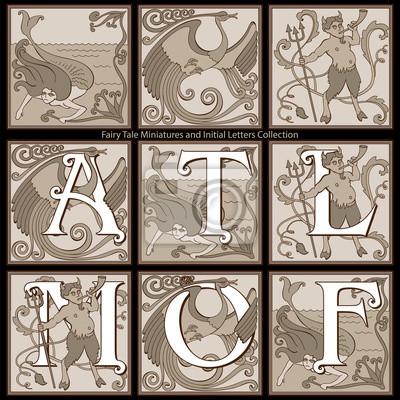 Fairy Tale Miniatures i początkowe litery Kolekcja