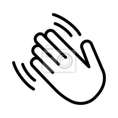 Naklejka Fala ręki / macha Witam lub witam ikona wektor linii sztuki linii dla aplikacji i stron internetowych