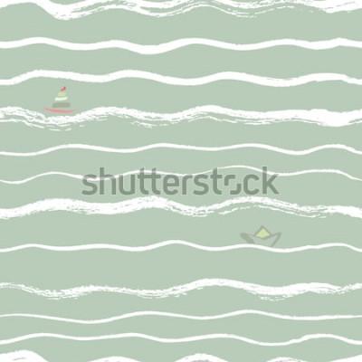 Naklejka fale bezszwowe tło szczotki z łodzi w oddali