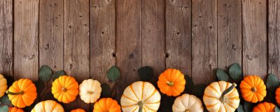 Naklejka Fall bottom border of pumpkins and eucalyptus leaves against a rustic dark wood banner background. Top view with copy space.