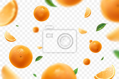 Naklejka Falling juicy oranges with green leaves isolated on transparent background. Flying defocusing slices of oranges. Applicable for fruit juice advertising. Vector illustration.