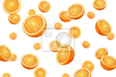 Naklejka Falling orange slice isolated on white background, selective focus