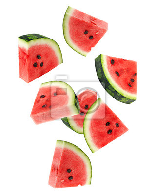 Naklejka Falling watermelon isolated on white background, clipping path, full depth of field
