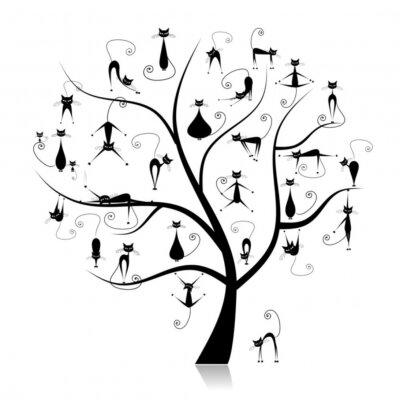 Naklejka Family cats tree, 27 czarny silhouettes funny