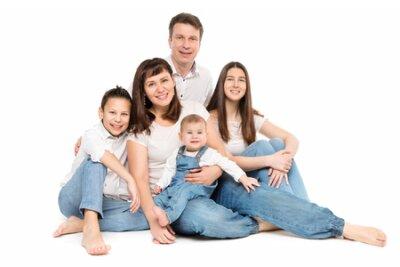 Naklejka Family Studio Portrait, Happy Parents and Three Children on White Background