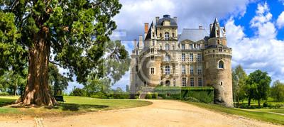 Naklejka Famous castles of Loire valley - beautiful romantic Chateau de Brissac, Landmarks of France