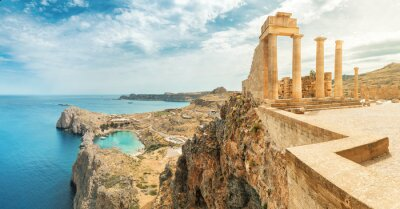 Naklejka Famous tourist attraction - Acropolis of Lindos. Ancient architecture of Greece. Travel destinations of Rhodes island