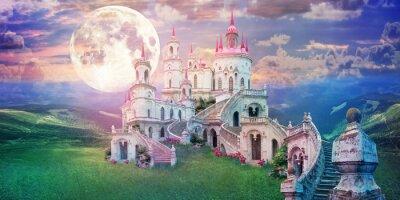 Naklejka fantastic landscape with beautiful old castle and moon. Wonderland background