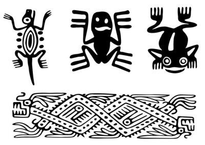 Naklejka Fantastyczne zwierzęta i ptaki Azteków