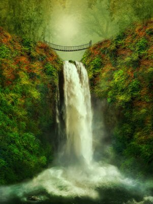 Naklejka fantastyczny wodospad i most