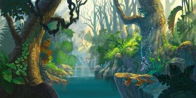 Naklejka Fantasy las malowanie