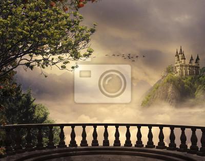 Naklejka Fantasy Zamek i balkon w górach. Grafika trójwymiarowa