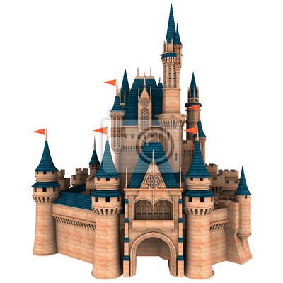 Naklejka Fantazi bajki kasztelu 3D ilustracja