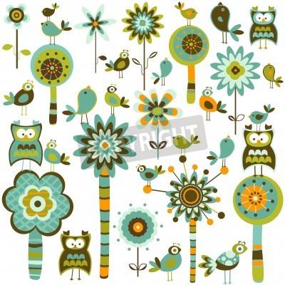 Naklejka fantazją las z drzewami kwiatów i ptaków