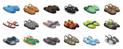 Naklejka Fashion sandal vector illustration set on white background . Summer shoe of sandal cartoon vector set icon. Isolated cartoon icon summer footwear.
