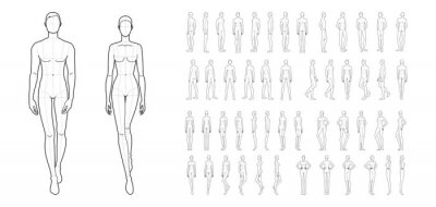 Naklejka Fashion template of 50 men and women.