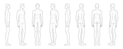 Naklejka Fashion template of standing men.