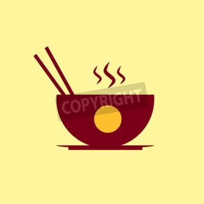 Naklejka Fast food ikony. Chiński piktogram żywności.