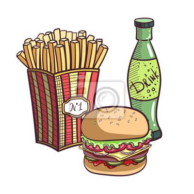 Naklejka Fast Food Set