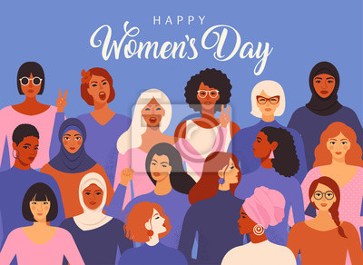 Naklejka Female diverse faces of different ethnicity poster. Women empowerment movement pattern. International women s day graphic vector.